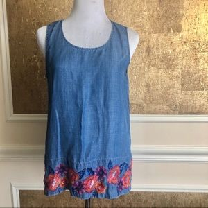 Tommy Bahama Tops - Tommy Bahama chambray floral embroidered top XS
